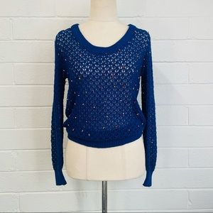 Vintage. Open Knitted Jumper with Beaded Detail.